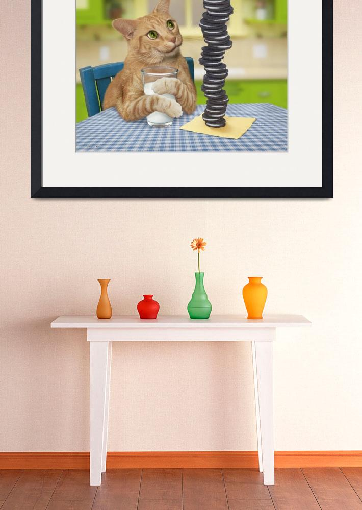 """Orange Tabby Cat With Pile of Cookies and Milk&quot  (2010) by StephanieDRoeser"