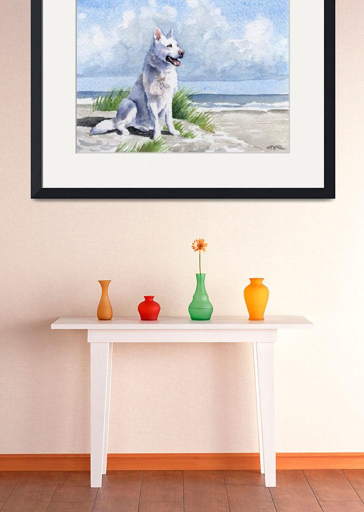 """White German Shepherd at Beach&quot  (2015) by k9artgallery"