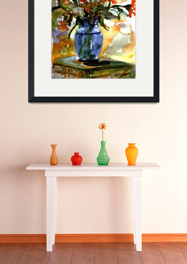 """Flowers In Blue Glass Vase Watercolor Still Life&quot  (2004) by GinetteCallaway"