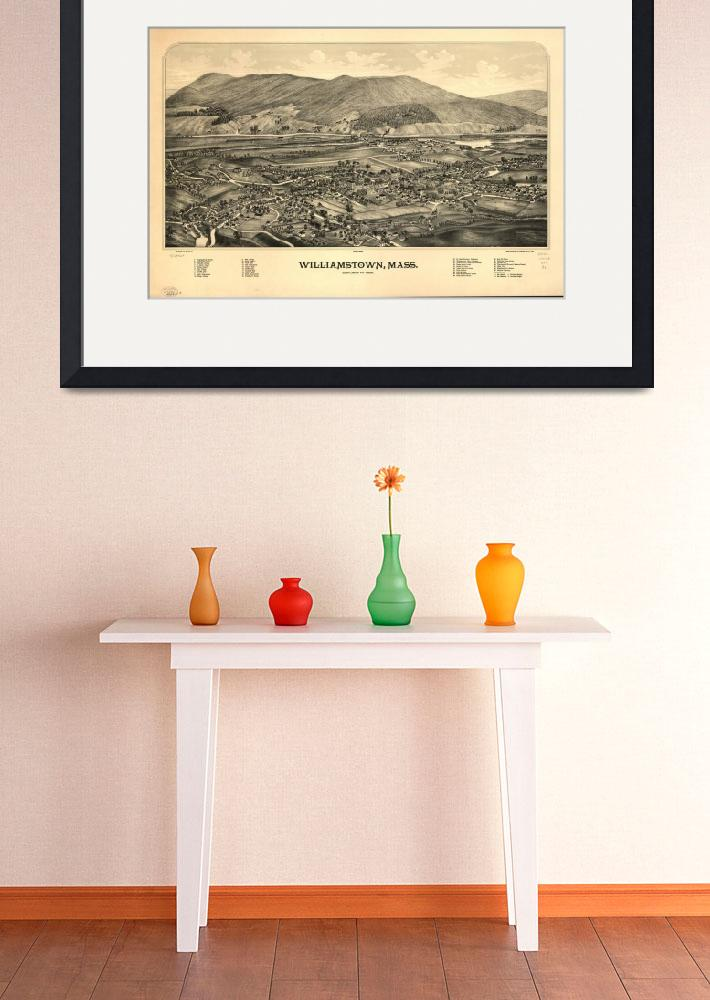 """1889 Williamstown, MA Panoramic Map Birds Eye View&quot  by PaperTimeMachine"