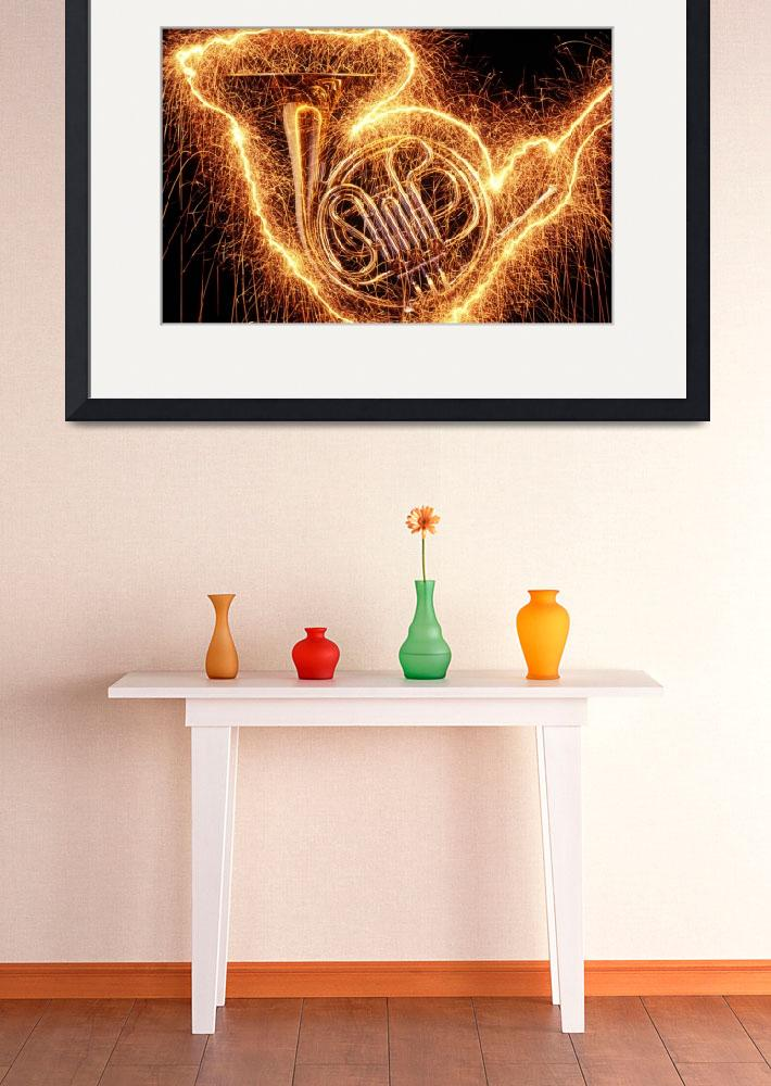 """French horn outlined with sparks&quot  (2012) by photogarry"