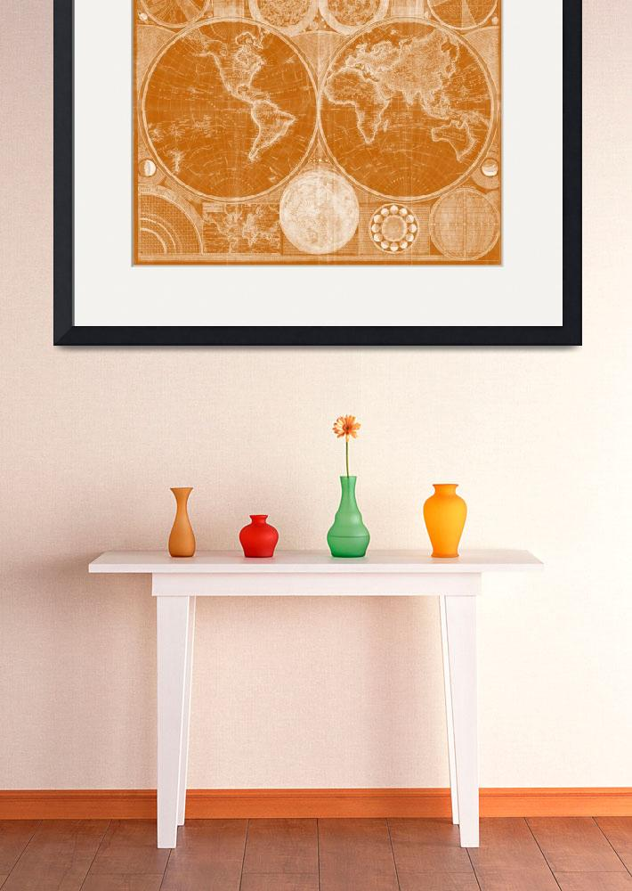 """World Map (1794) Orange & White&quot  by Alleycatshirts"