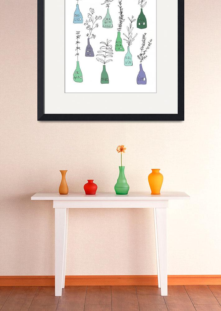 """Italian kitchen herbs food print&quot  (2012) by Lebonvintage"