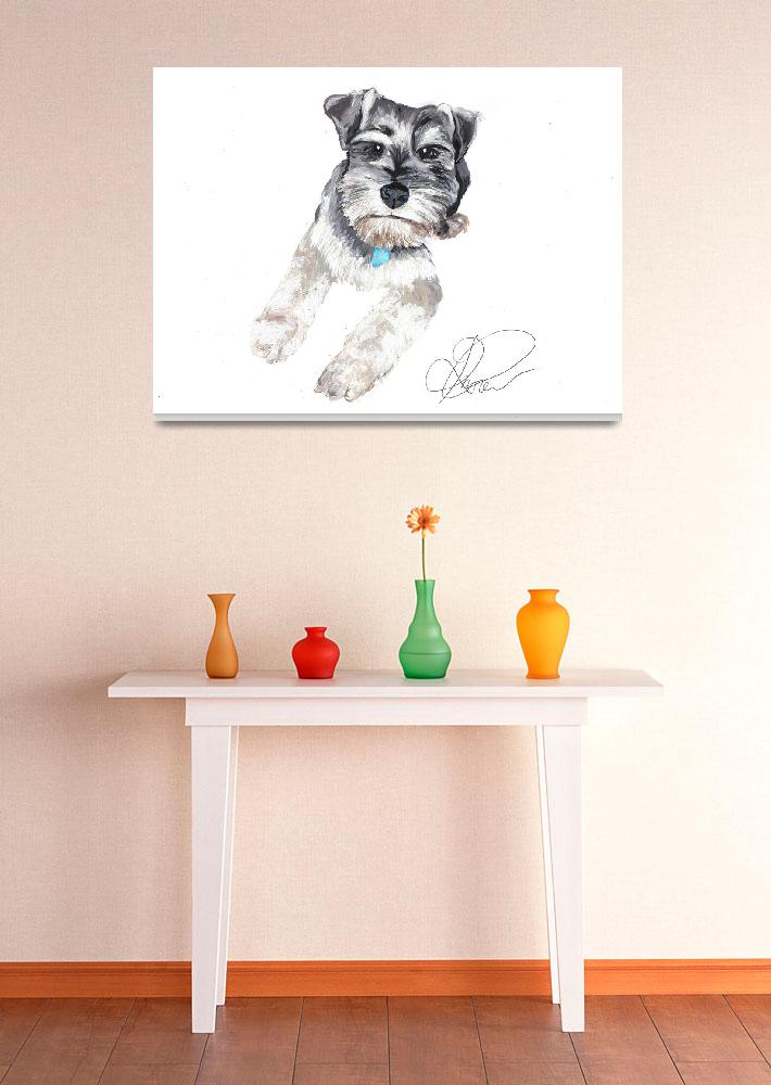 """Alfie the minature snouzer&quot  (2007) by Rachelpeglerartworks"