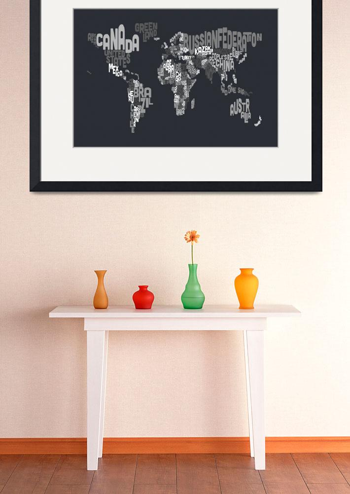 """Text Map of the World&quot  (2012) by ModernArtPrints"