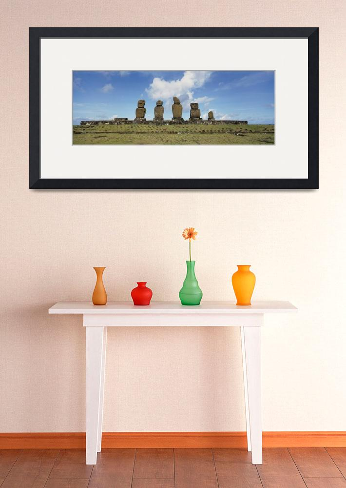 """Low angle view of Moai statues in a row&quot  by Panoramic_Images"