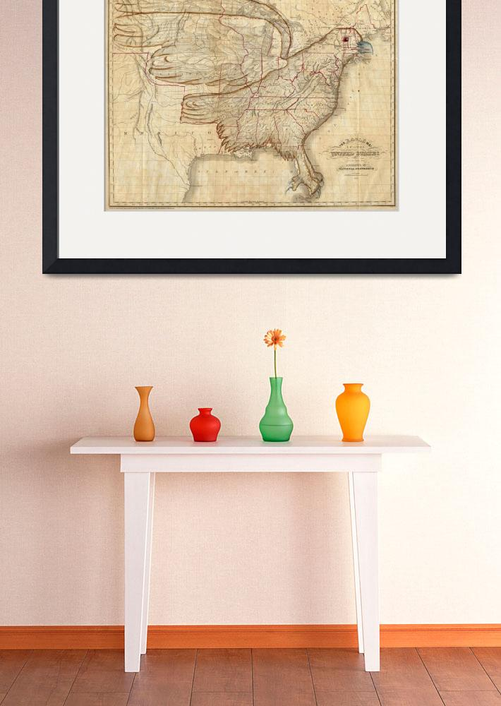 """Vintage United States Eagle Map (1833)&quot  by Alleycatshirts"