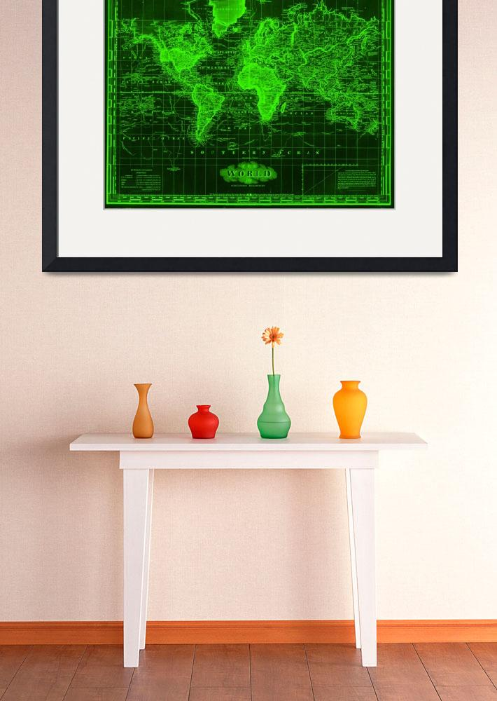 """Vintage Map of The World (1833) Black & Green&quot  by Alleycatshirts"