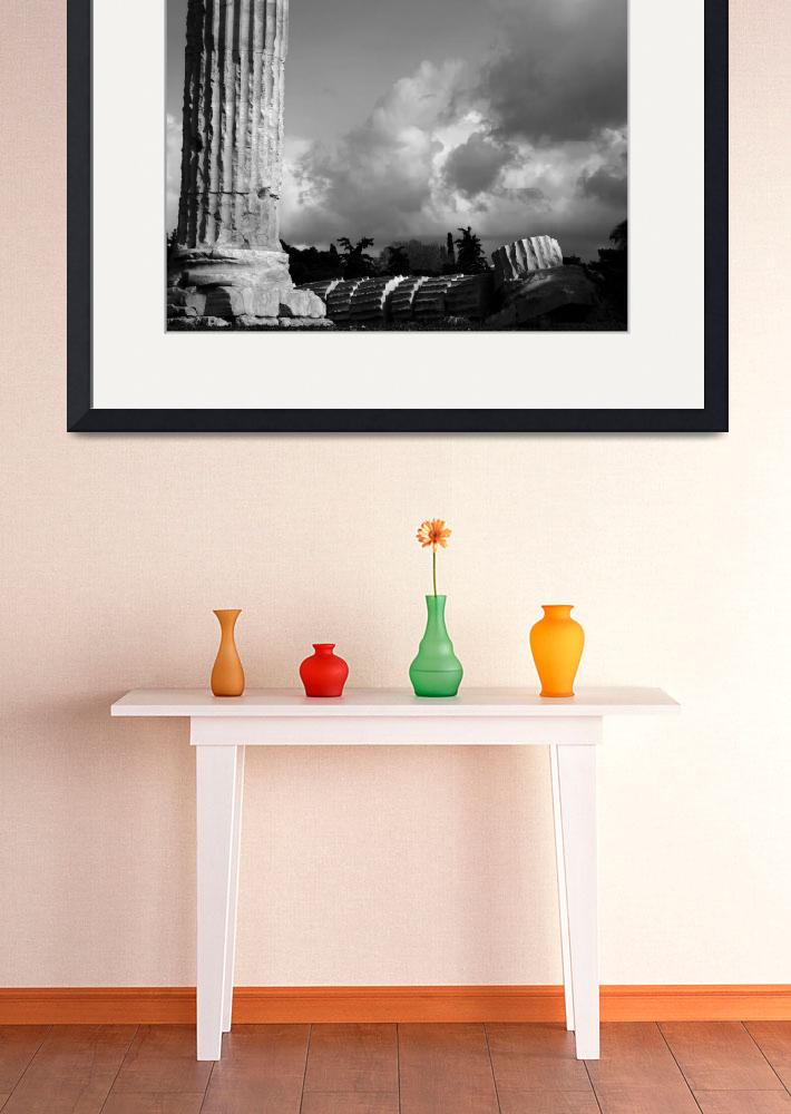 """Temple of Olympian Zeus with Storm Clouds&quot  (2009) by bhneely"