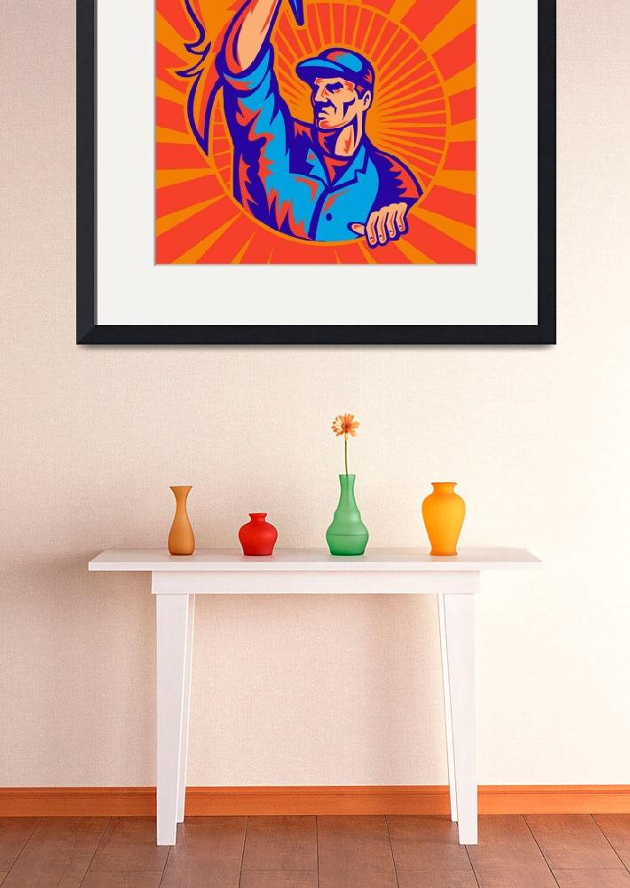 """worker carrying flaming torch sunburst retro&quot  (2011) by patrimonio"