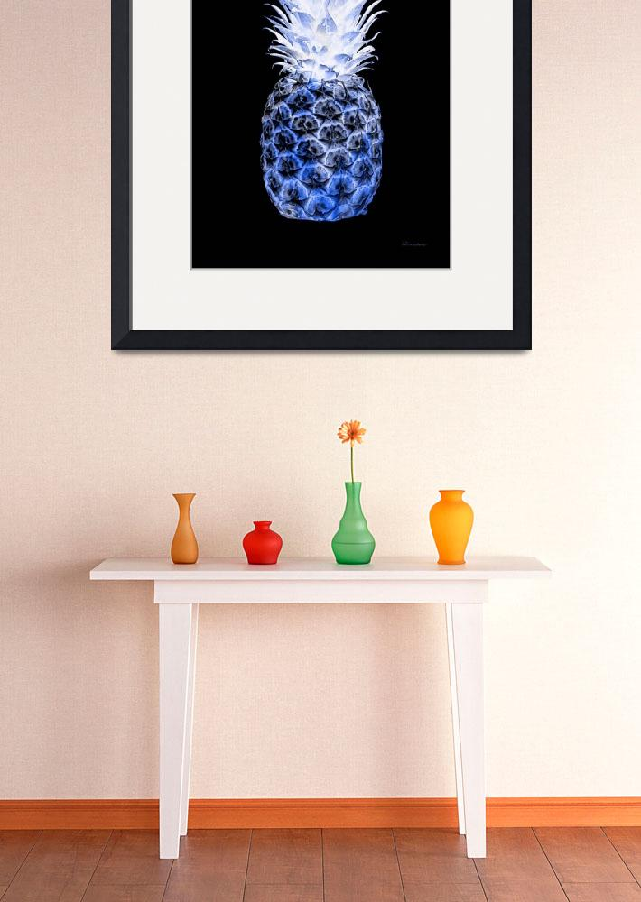 """14J Artistic Glowing Pineapple Digital Art Blue&quot  (2016) by Ricardos"