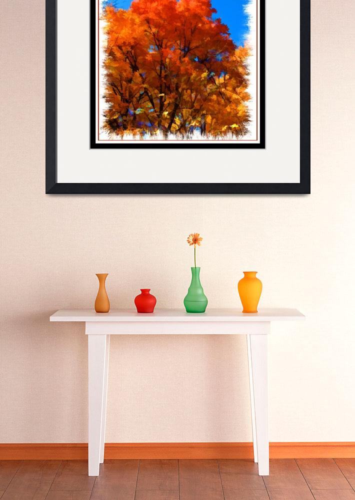 """Orange Leaf Tree,Peak Fall Autumn Color,Framed Art&quot  (2010) by Chantal"