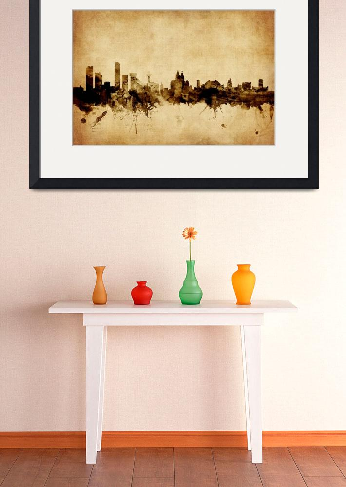"""Liverpool England Skyline&quot  (2015) by ModernArtPrints"