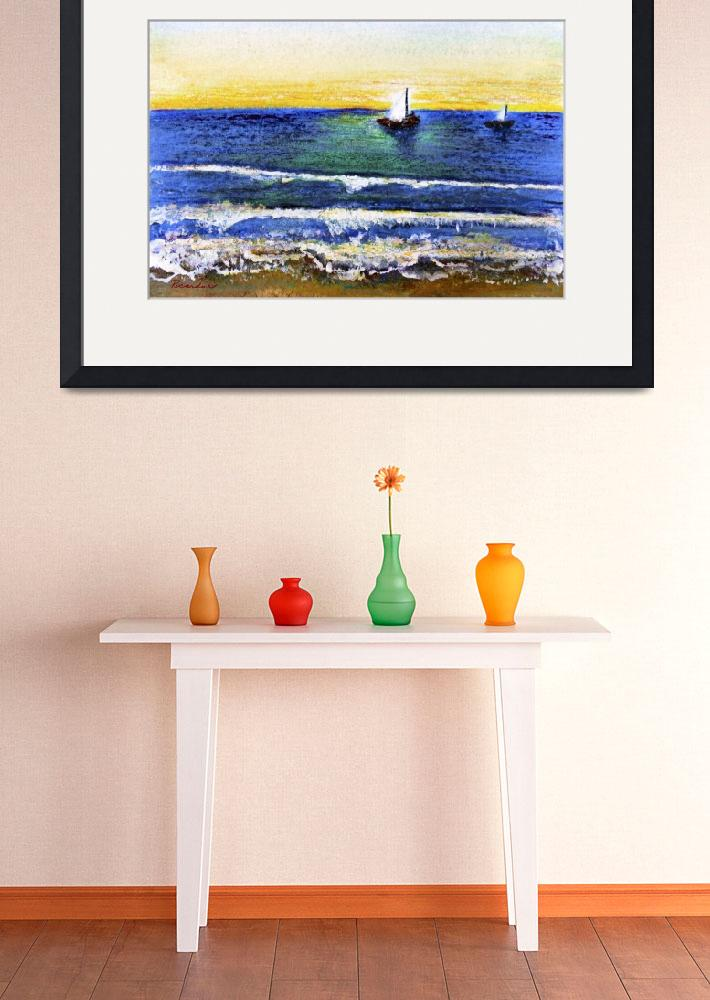 """Tropical Sunset Beach Seascape C2&quot  (2015) by Ricardos"