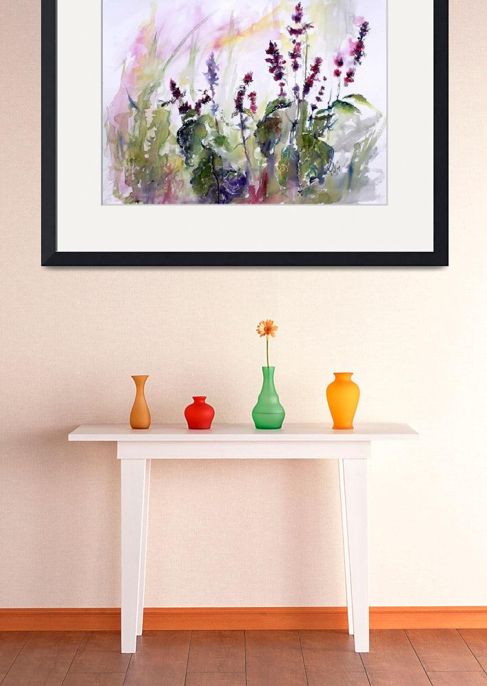 """Basil Flowers Culinary Herbs Watercolor&quot  (2015) by GinetteCallaway"