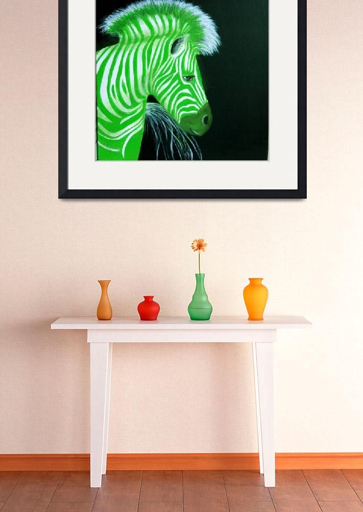 """Zebra Green Pop Art&quot  (2010) by Spangles44"