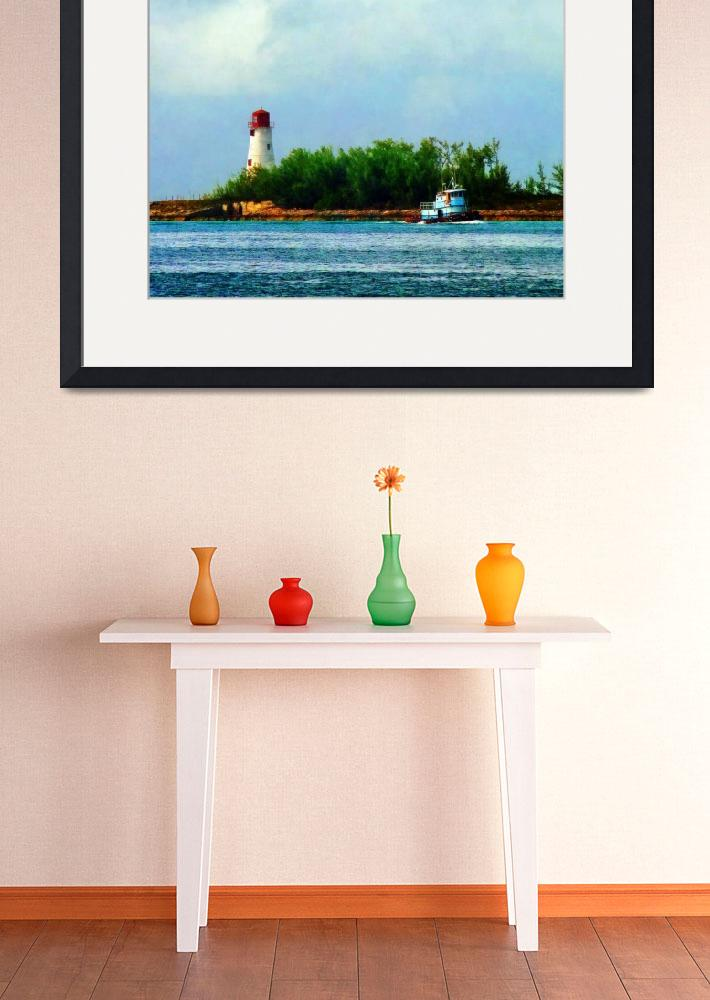 """Lighthouse with Boat Nassau Bahamas&quot  (2011) by susansartgallery"
