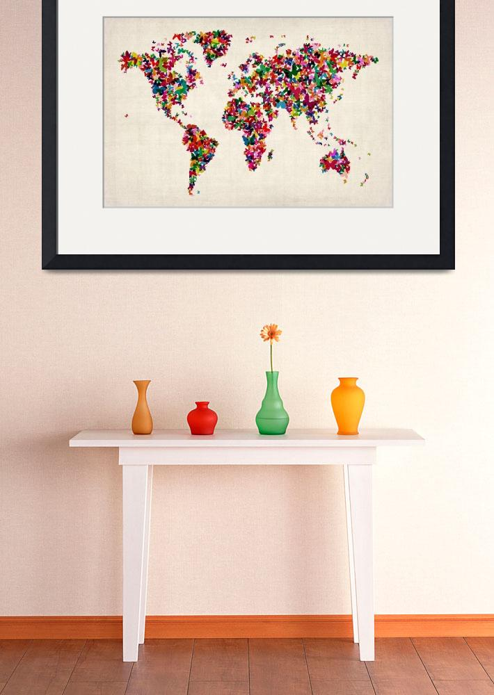 """Butterflies Map of the World Map&quot  (2012) by ModernArtPrints"