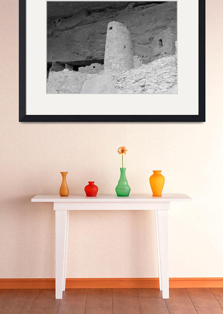 """Round Tower, Cliff Palace B&W&quot  (2008) by MichaelStephenWills"