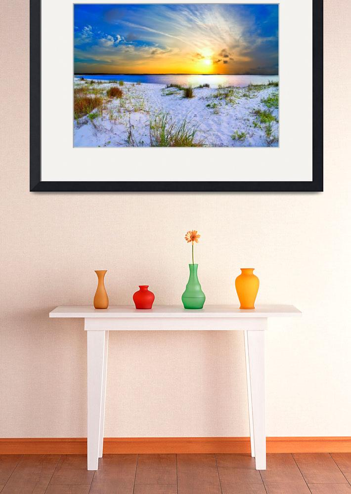 """Blue Orange Landscape Sunset Sandy Beach Art Print&quot  (2013) by eszra"