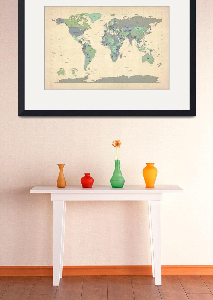 """Political Map of the World Map&quot  (2012) by ModernArtPrints"
