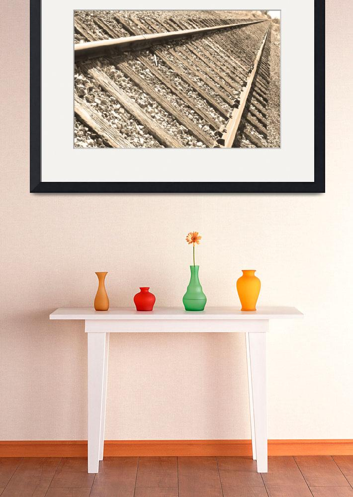 """Train Tracks Sepia Triangular&quot  (2010) by lightningman"