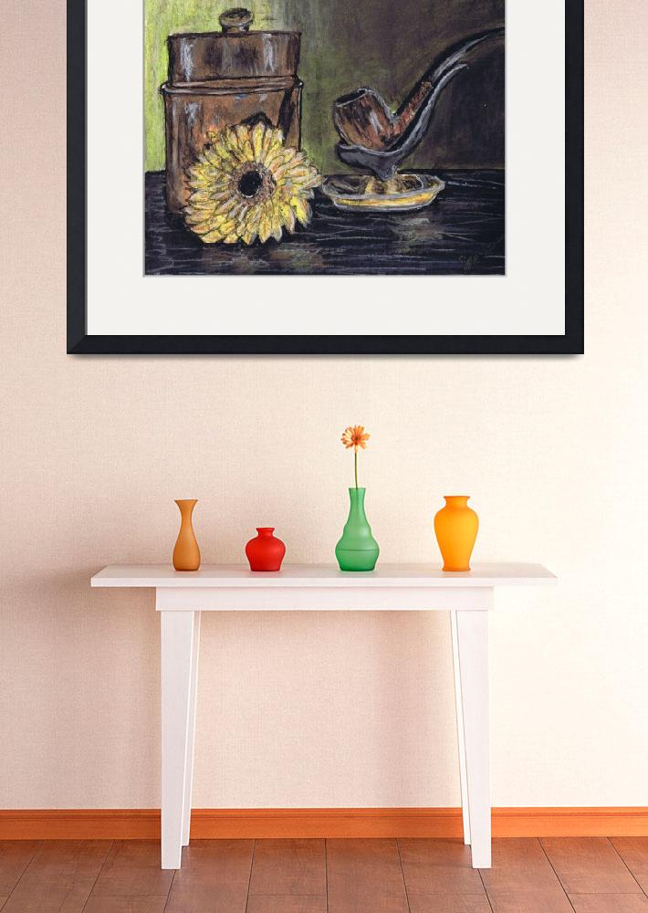 """pipe, canister, and yellow flower, still life&quot  (2014) by artprintsgalore"