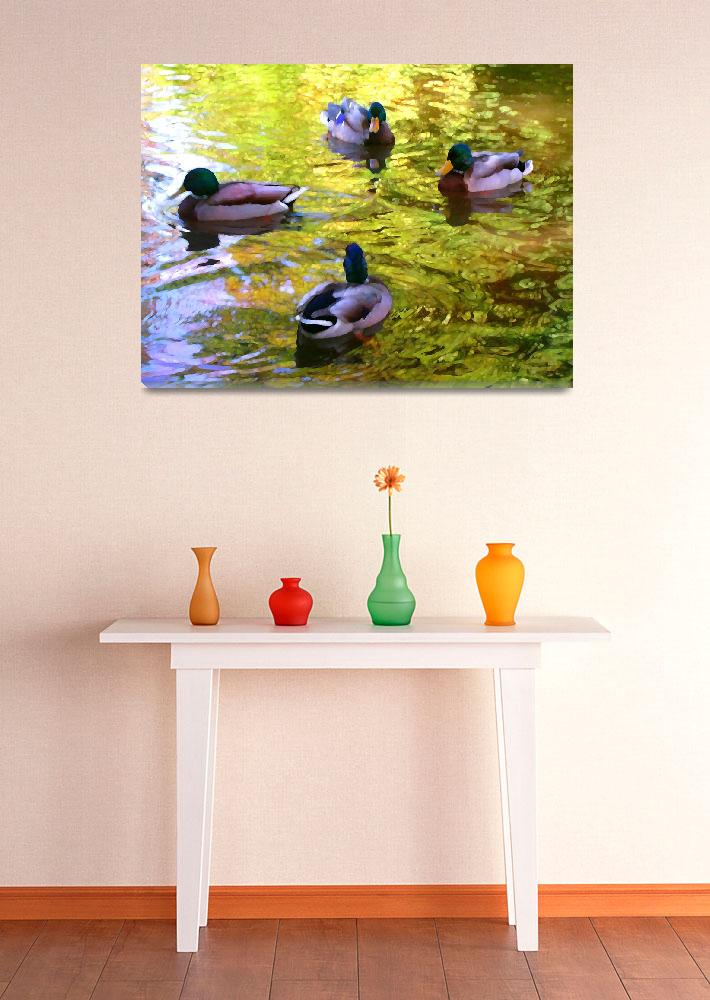 """Four Ducks on Pond&quot  (2009) by AmyVangsgard"