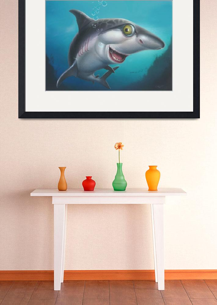 """Great White Shark Sea Life Ocean Cartoon Art&quot  (1995) by walt-curlee"