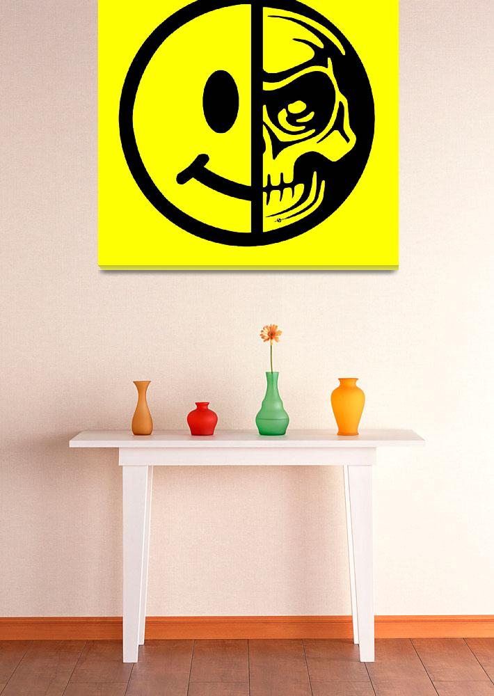 """Smiley Face Skull Yellow Red&quot  (2015) by RubinoFineArt"