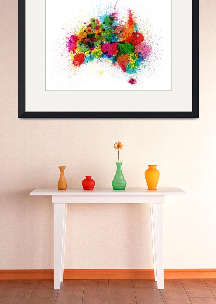 """Australia Paint Splashes Map&quot  (2012) by ModernArtPrints"