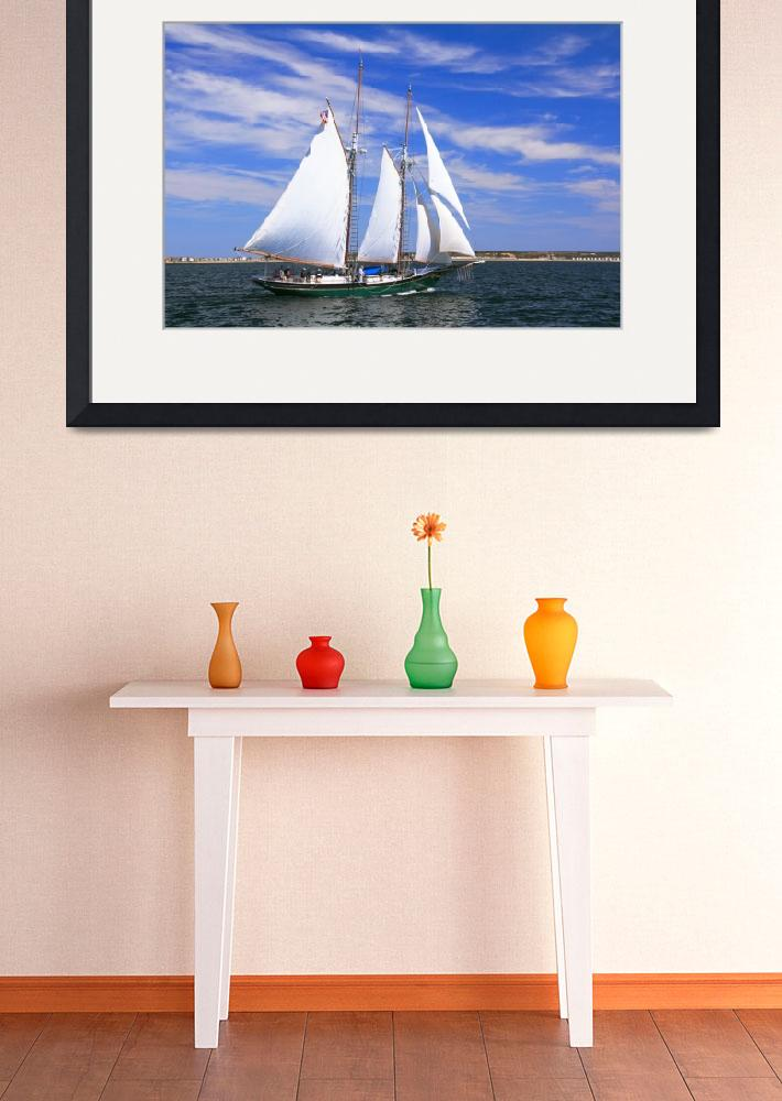 """Schooner sailing on Cape Cod Bay&quot  (2011) by RoupenBaker"