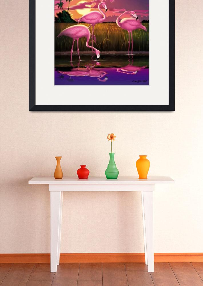 """Pink flamingos Eveglades Florida Sunset Retro Art&quot  (2005) by walt-curlee"