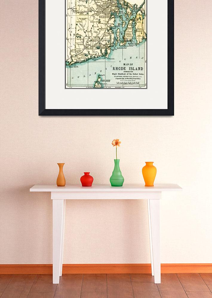 """Rhode Island Antique Map 1891&quot  (2016) by WilshireImages"