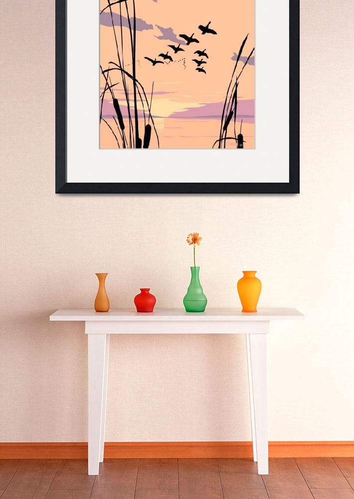 """Abstract Ducks Lake Sunset retro pop art landscape&quot  (1985) by walt-curlee"