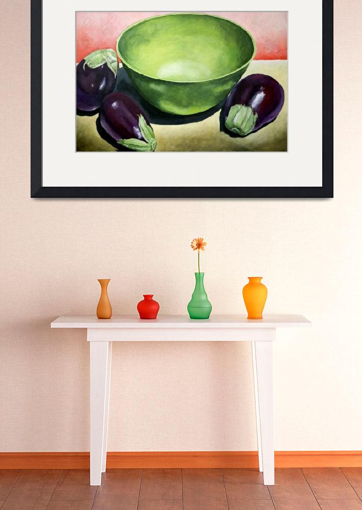 """Green Bowl with Eggplant&quot  (2008) by AbbyCreekStudios"