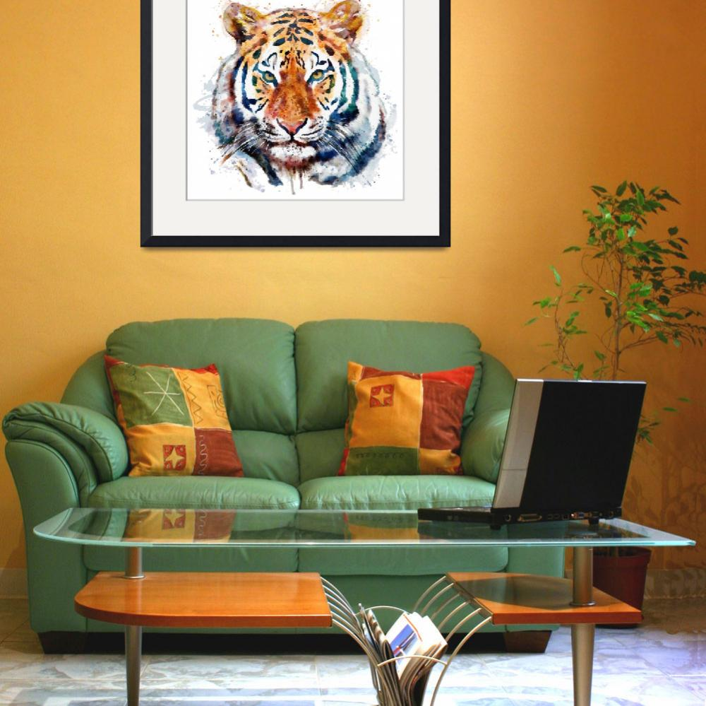 """Tiger Head Watercolor&quot  (2014) by MarianVoicu"