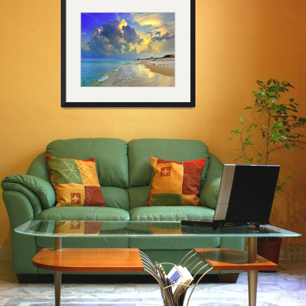 """Yellow Blue Seascape Sunset Florida Beach Fine Art&quot  (2008) by eszra"