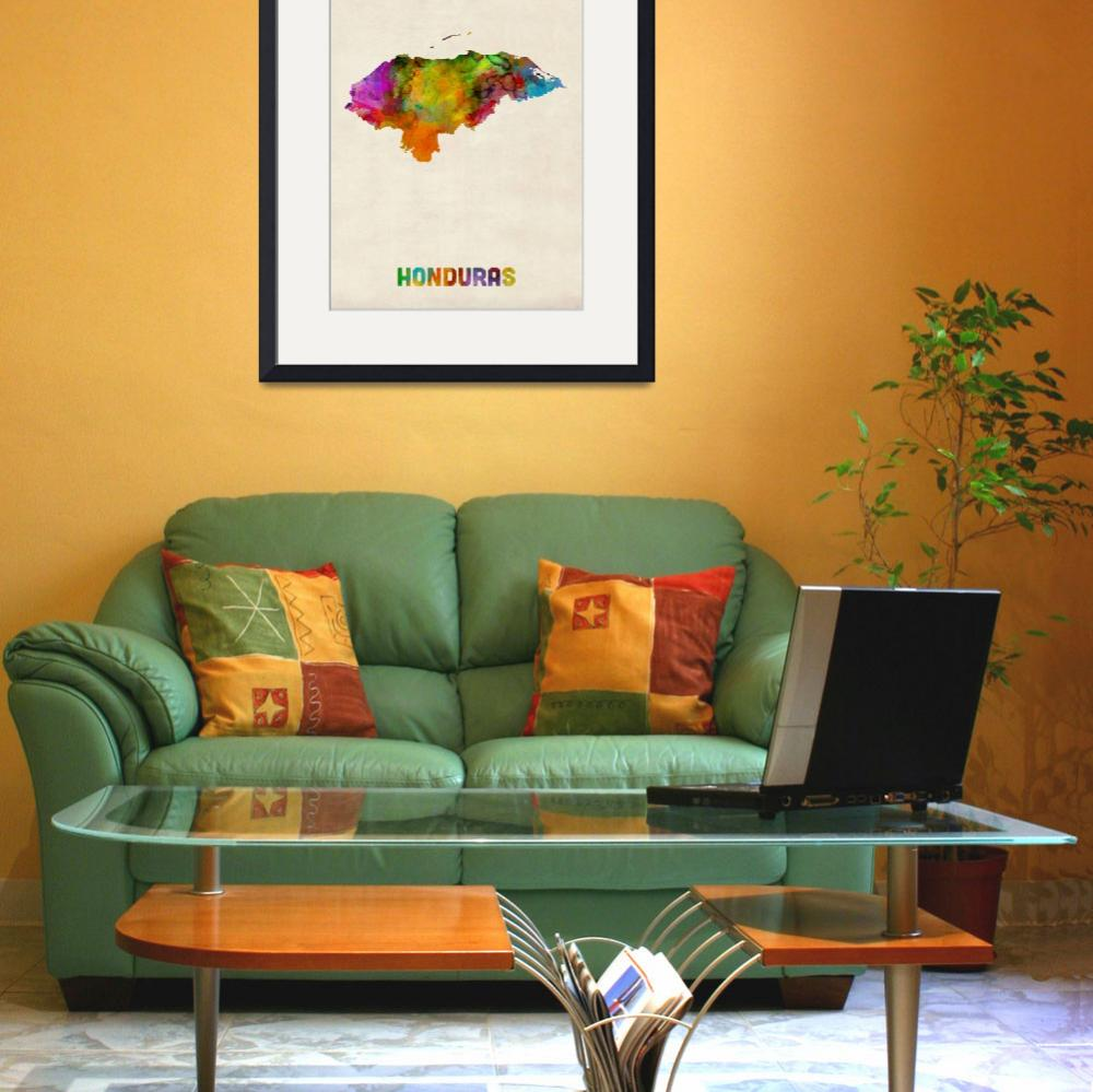 """Honduras Watercolor Map&quot  (2014) by ModernArtPrints"