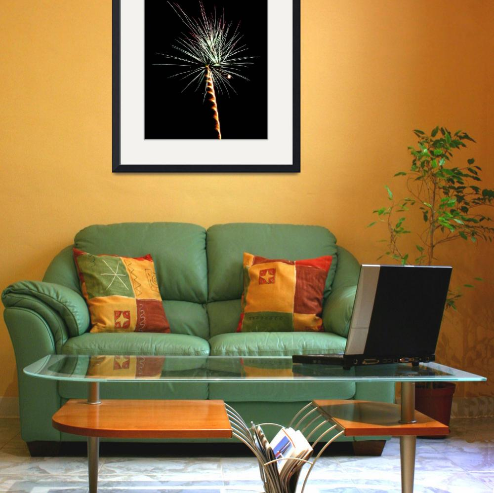 """Gold & Green Palm Tree    Fireworks&quot  (2009) by budo"