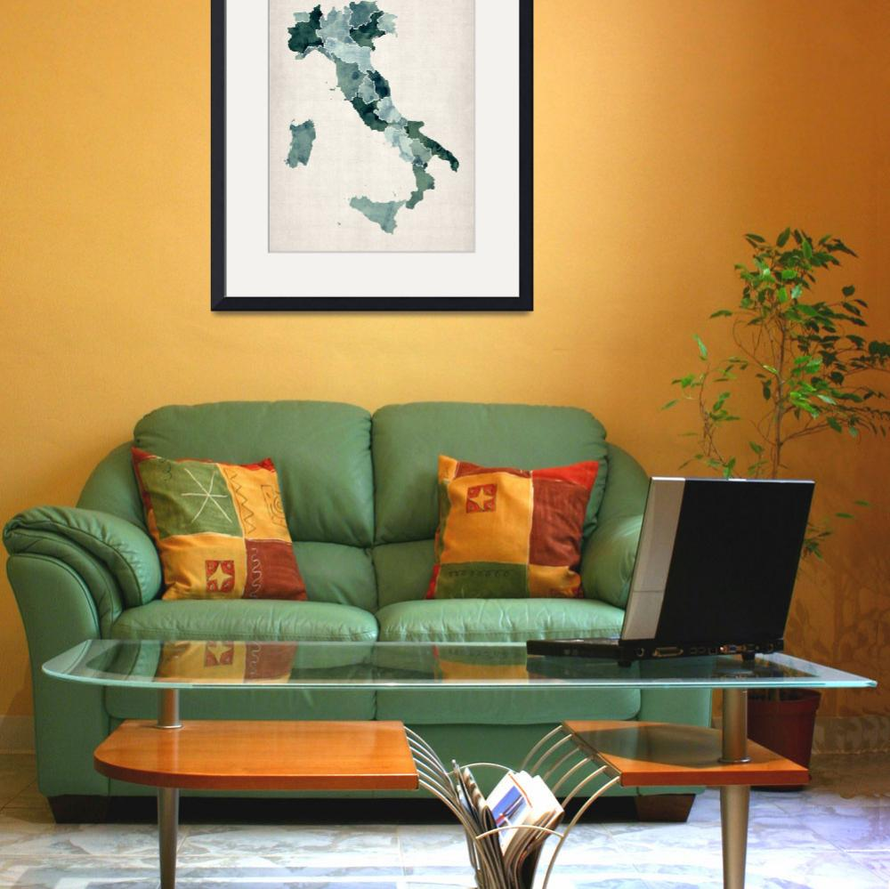 """Watercolor Map of Italy&quot  (2012) by ModernArtPrints"