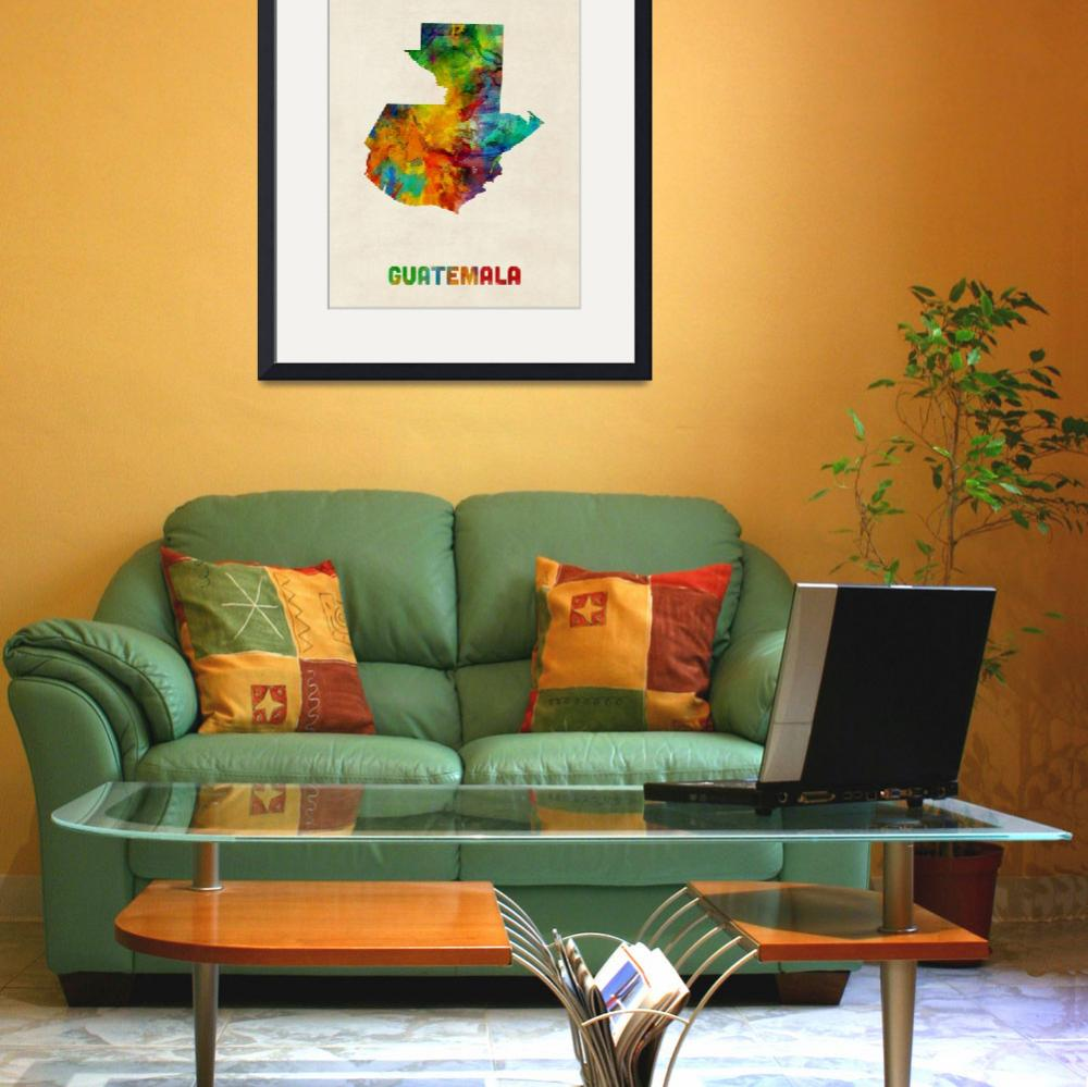 """Guatemala Watercolor Map&quot  (2014) by ModernArtPrints"