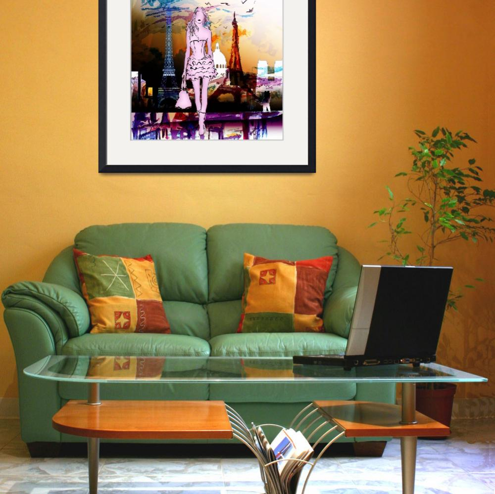 """Paris Eiffel Tower and Girl Modern Decor&quot  (2014) by GinetteCallaway"