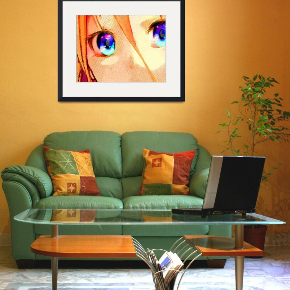 """Anime Girl Eyes Gold&quot  (2015) by RubinoFineArt"