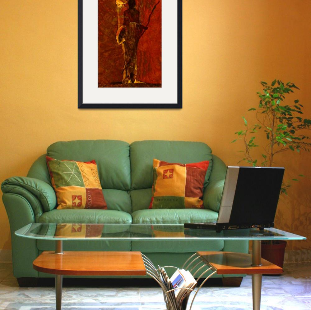 """massai in reddening sky&quot  by Marilyn"
