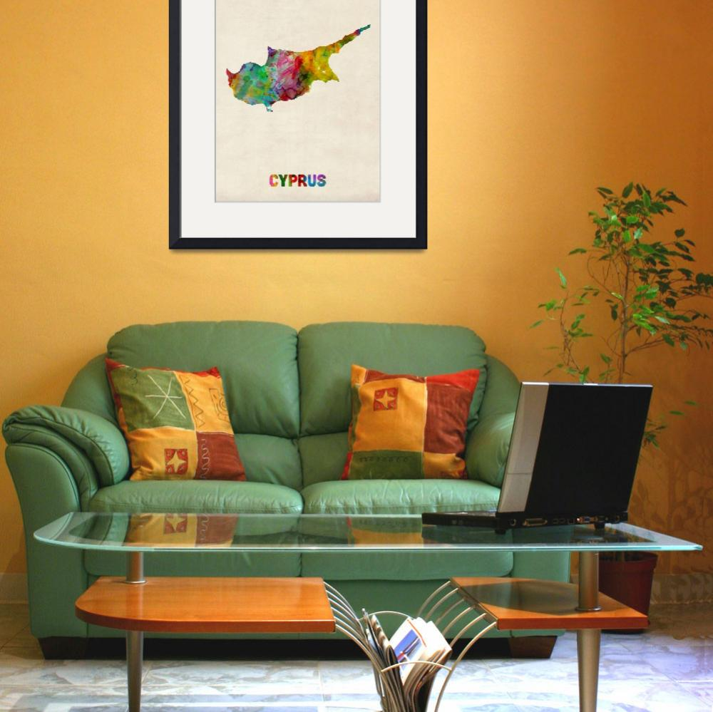 """Cyprus Watercolor Map&quot  (2013) by ModernArtPrints"
