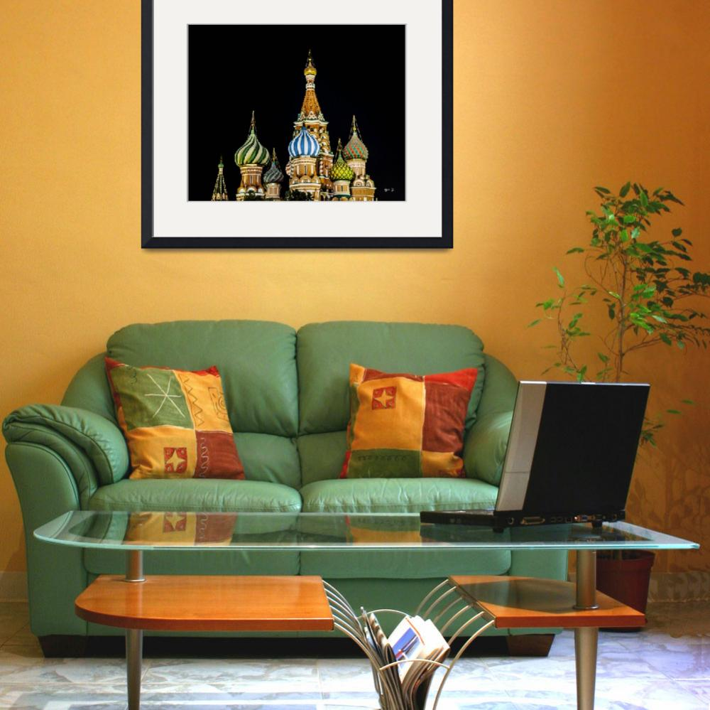 """Moscow St. Basils Cathedral at Night&quot  (2013) by madeline"