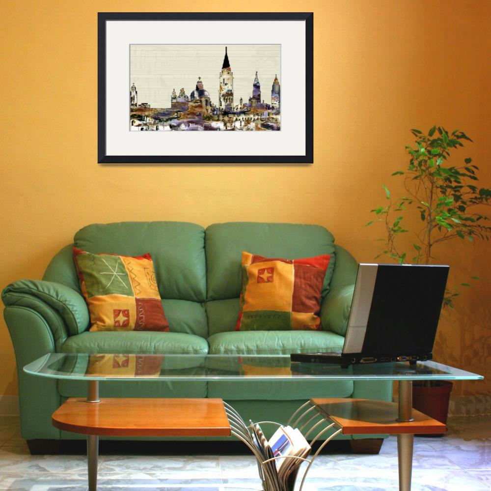 """Venice Skyline Modern Decor&quot  (2014) by GinetteCallaway"