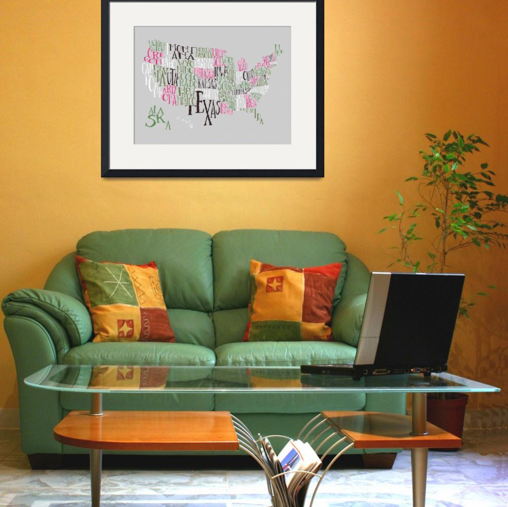 """Hot Green US Typography Map&quot  by circleart"