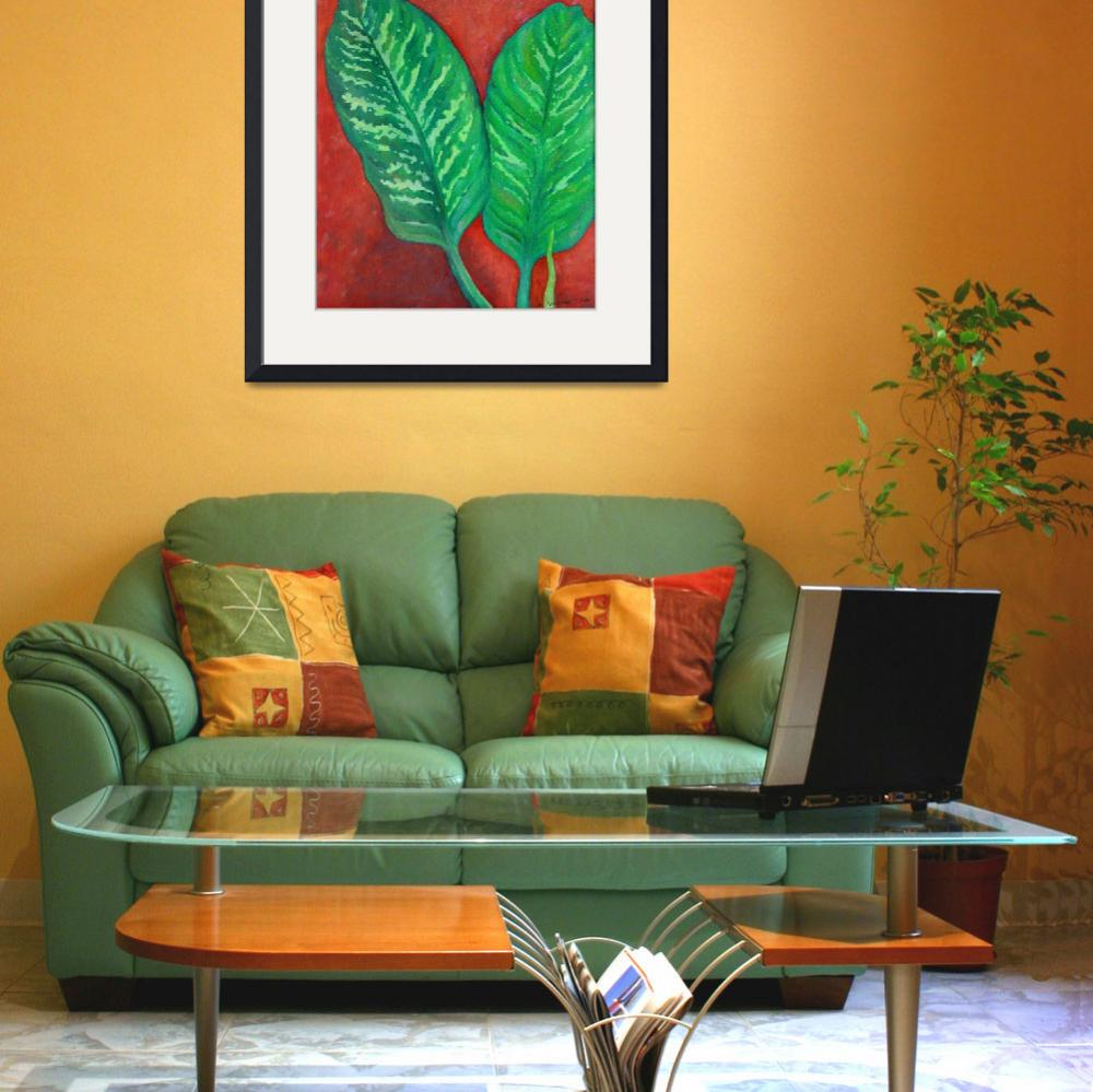 """Two Dieffenbachia Leaves&quot  (1976) by KsWorldArt"